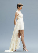 Load image into Gallery viewer, Hi Low Chiffon Bridal Gown made by hand in Vancouver.
