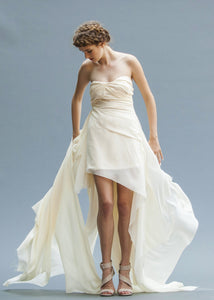 A Unique Ivory Chiffon Wedding Gown Handmade in Vancouver.