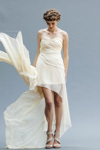 Short Chiffon Bridal Gown Handmade in Vancouver.