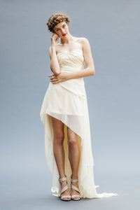 A Chiffon Hi Low Bridal Dress made in Vancouver.