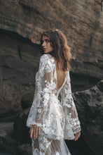 Load image into Gallery viewer, Back of Vancouver bride in low back lace wedding dress with hippie sleeves.