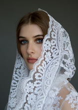 Load image into Gallery viewer, Close up of side of face, model wearing bridal veil and bolero.