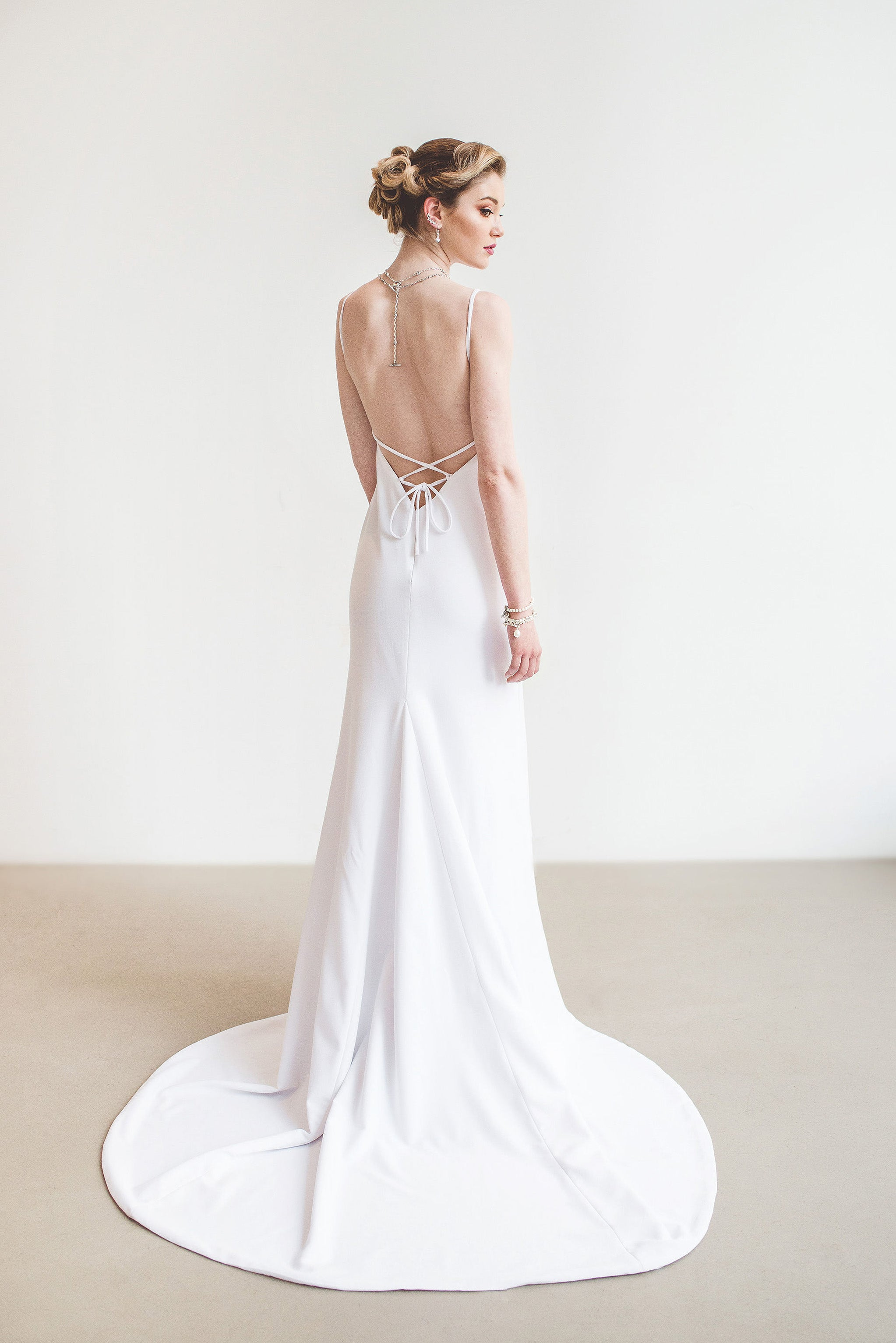Backless Wedding Dresses.Mykonos Low Back Wedding Gown