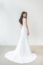 Load image into Gallery viewer, A unique backless minimalist wedding dress with long train handmade in Vancouver.