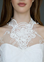 Load image into Gallery viewer, Detail shot of model's neck, wearing high neck Victorian style lace wedding dress.
