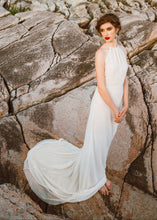 Load image into Gallery viewer, Side view of long flowy wedding dress on boho bride in Vancouver.