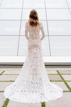 Load image into Gallery viewer, Vancouver wedding dress, back full view, with full skirt and bold lace pattern.