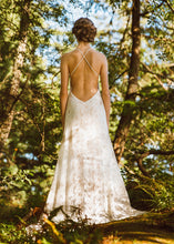 Load image into Gallery viewer, A unique backless lace wedding dress handmade in Vancouver.