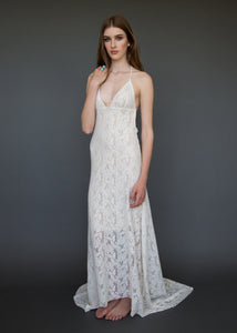 A low V backless lace bridal gown for the sexy boho bride.