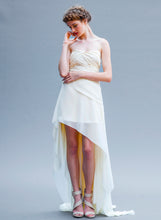 Load image into Gallery viewer, Hi Low Short Asymmetrical Ivory Chiffon Wedding Gown Handmade in Vancouver.