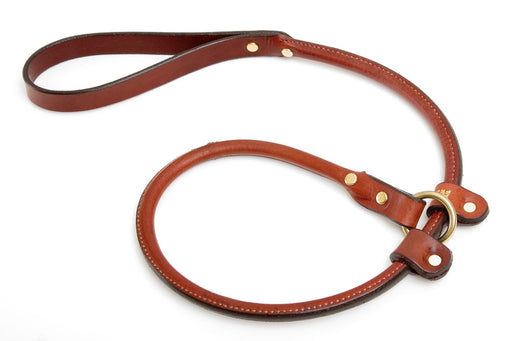 Rolled Leather Dog Handler Lead -  3 foot
