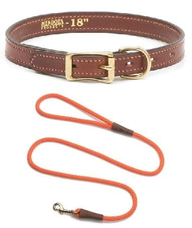 Buy and Save - Leather Narrow Collar Set with ID Tag