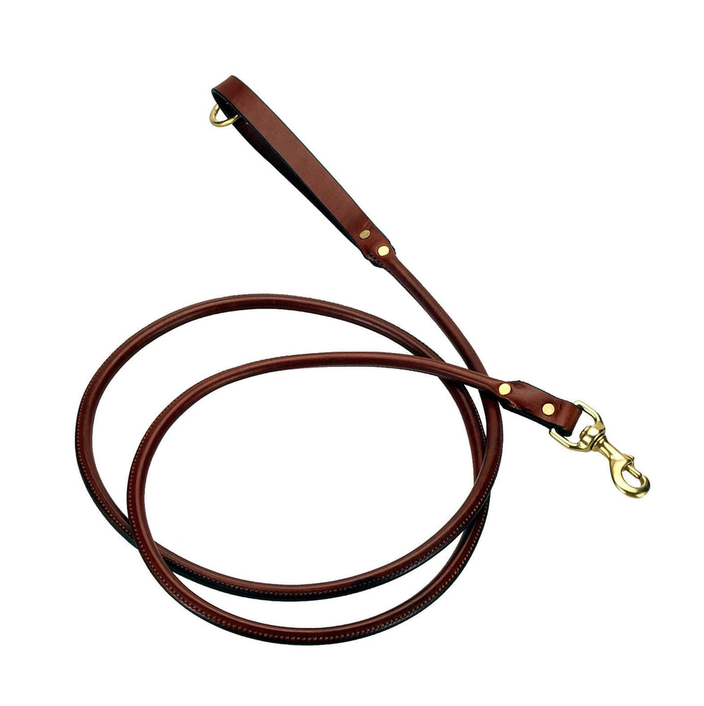 Rolled Leather Dog Snap Lead - 6 Foot