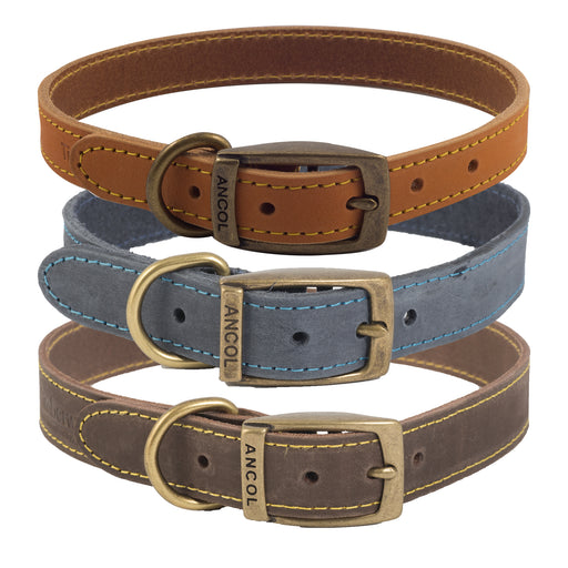 Timberwolf Leather Dog Collar
