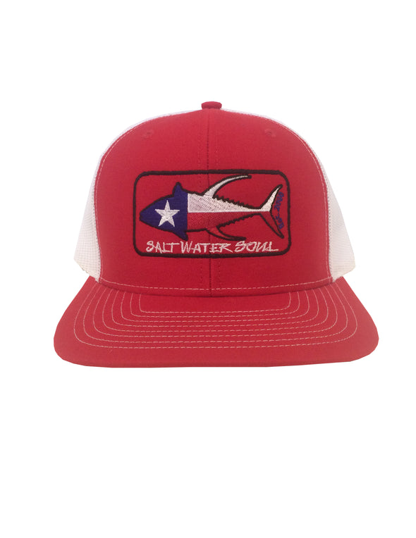 Texas Tuna Snapback Mesh Hat - Red / White