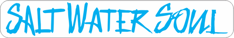 "SALTWATERSOUL Blue Letter 8"" x 2""  Decal"