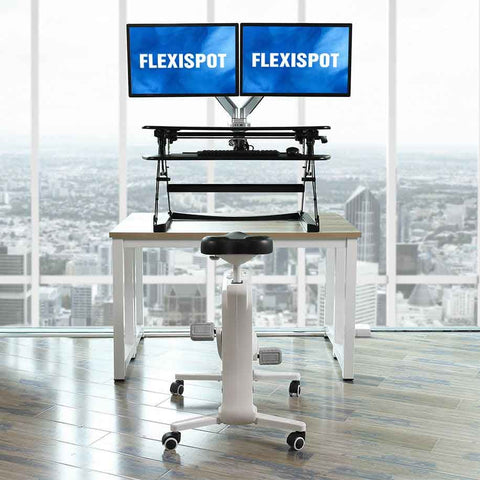 Flexispot: Sit-Stand-Move Solution: Desk Riser + Desk Bike