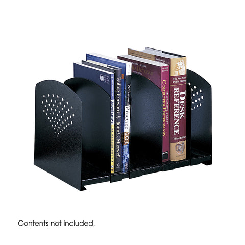 Adjustable Book Rack, Five Section, Black