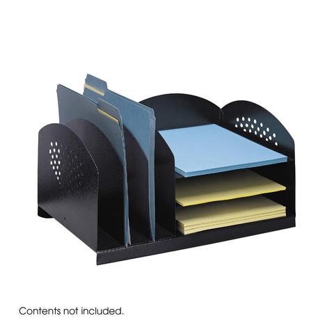 Combination Desk Organizer Rack, 3 Upright/3 Horizontal, Black