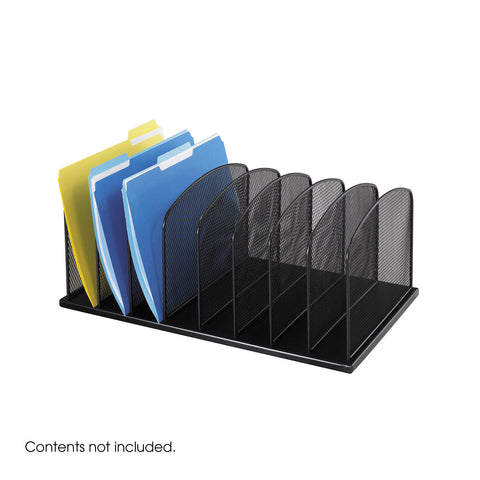 Onyx™ Desk Organizer, 8 Upright Sections, Mesh Black