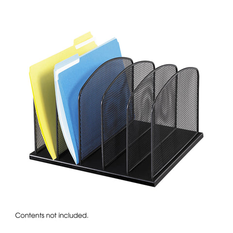 Onyx™ Desk Organizer, 5 Upright Sections, Mesh, Black