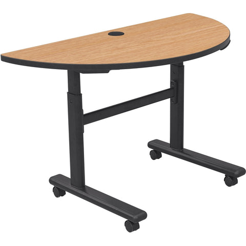 Height Adjustable Sit/Stand Flipper Table - Half Round