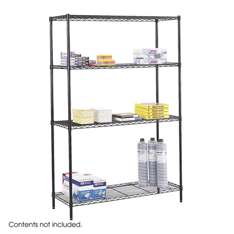"Commercial Wire Shelving,  48 x 18"", Black"