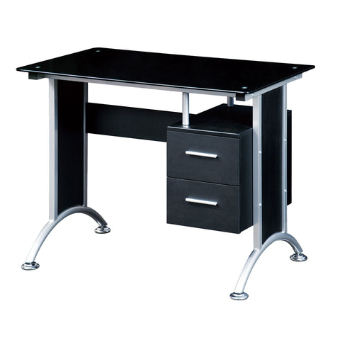 Techni Mobili Glass-Top Computer Desk Black