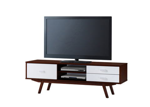 "Techni Mobili Retro Wood Veneer 65"" TV stand with Storage. Walnut"