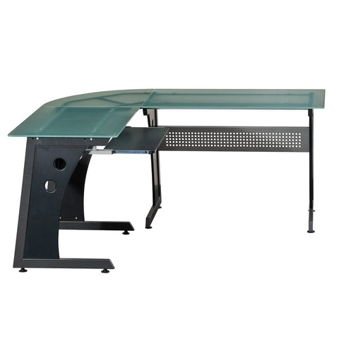 DELUXE L-SHAPED GLASS TOP COMPUTER DESK