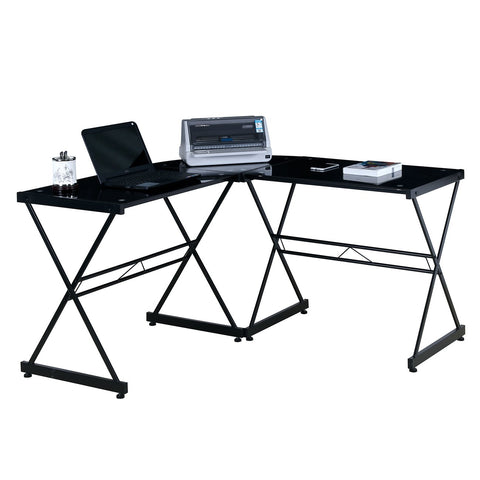 L-SHAPED GLASS COMPUTER DESK