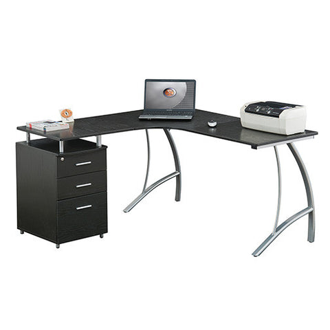 Techni Mobili L-Shape Corner desk with File Cabinet