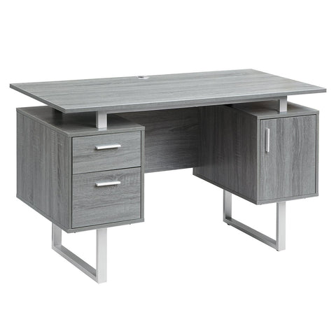 MODERN GREY OFFICE DESK WITH STORAGE
