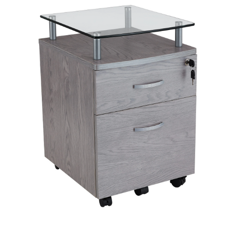 ROLLING FILE CABINET WITH GLASS TOP