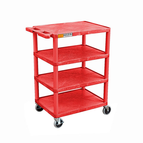 Four Flat-Shelf Structural Foam Plastic Cart