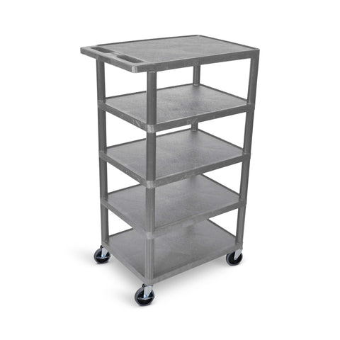 Five Flat-Shelf Structural Foam Plastic Cart