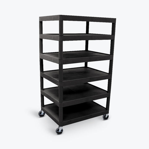 Six Flat-Shelf Structural Foam Plastic Cart