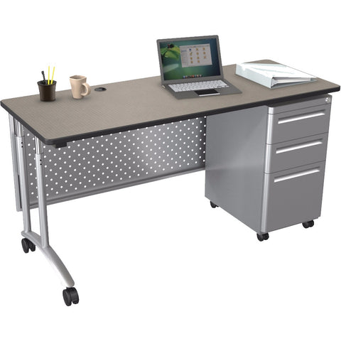 Modular Teacher's Sit-Stand Single Pedestal Desk Set