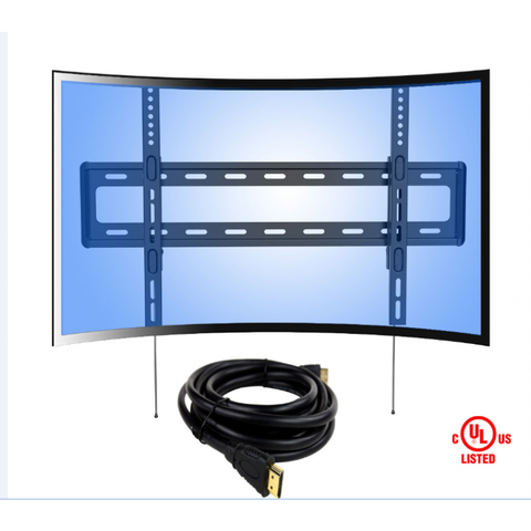 "LOCTEK R1H FIXED TV WALL MOUNT FOR CURVED TV WITH A 6FT HDMI CABLE(32"" - 70"", MAX. 88LBS)"