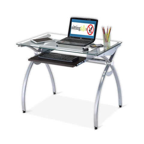 Techni Mobili Glass-Top Computer Desk