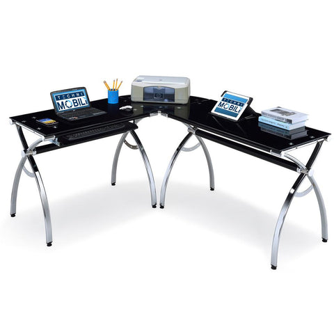 Techni Mobili L-Shaped Computer Desk Black
