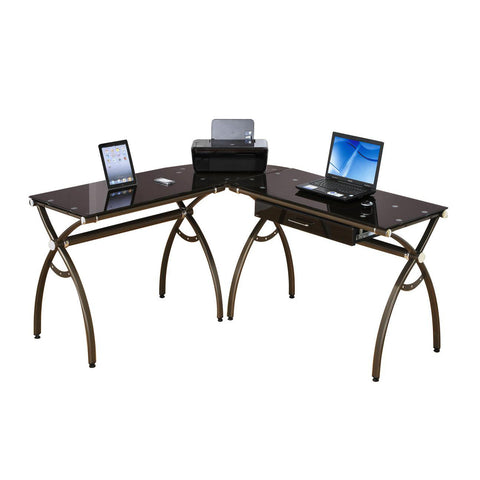 Techni Mobili L-Shaped Computer Desk Chocolate