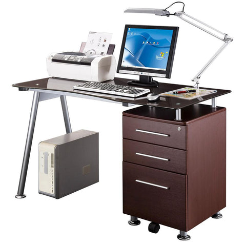 Techni Mobili Glass-top Desk with Built-in File Cabinet