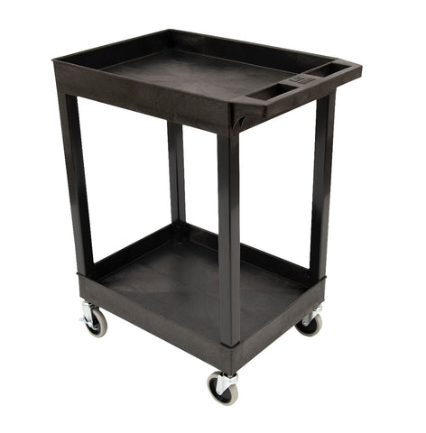 "24"" x 18"" Plastic Utility Tub Cart with Heavy Duty Casters – Two Shelf – Black"