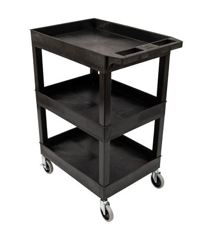 "24"" x 18"" Plastic Utility Cart – Three Shelf – Black"