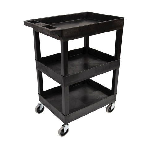 "24"" x 18"" Plastic Utility Tub Cart - Three Shelf-Black"