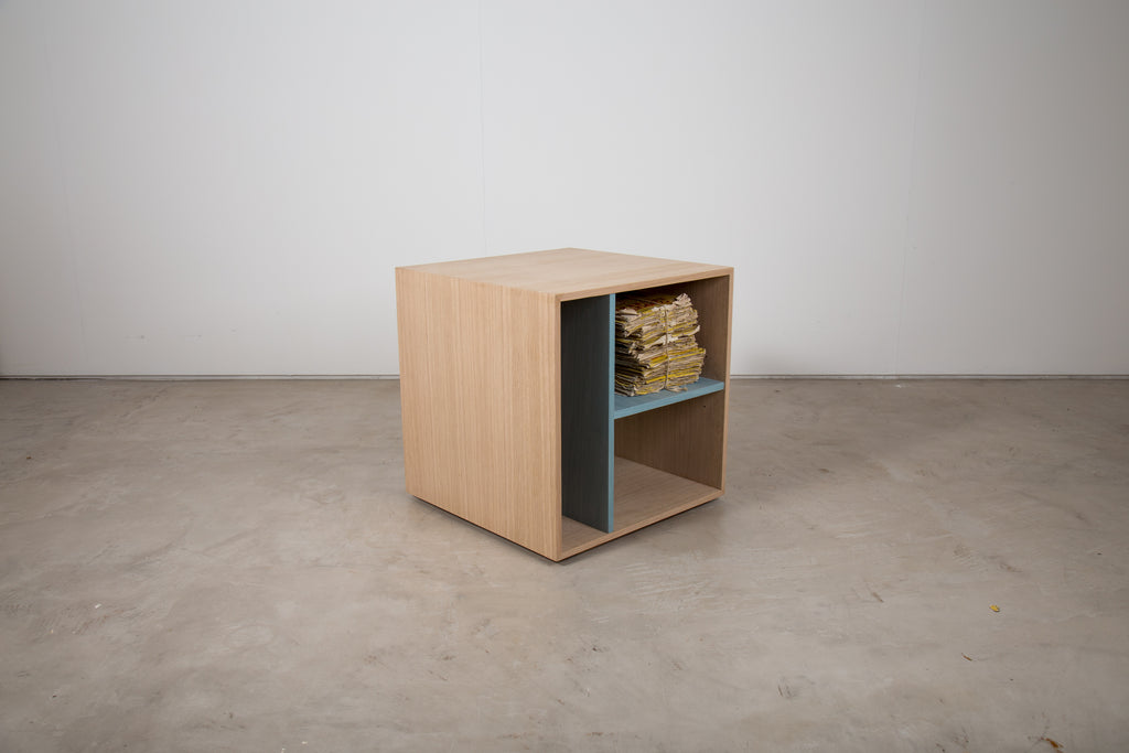 Veneered cube side table