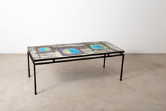 VINTAGE 0009 - Modern 1960s Ceramic Tile and Iron Table by Juliette Belarti