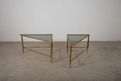 VINTAGE 0002 - Pair of vintage brass side tables