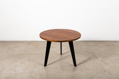 VINTAGE 0020 - Side table with walnut veneered top and black lacquered legs